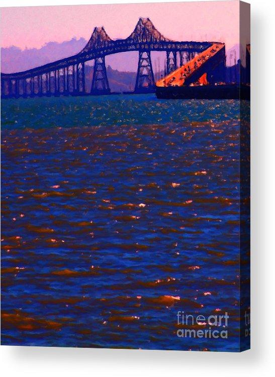 San Francisco Acrylic Print featuring the photograph Sun Setting Beyond The Richmond-san Rafael Bridge - California - 5d18435 by Wingsdomain Art and Photography