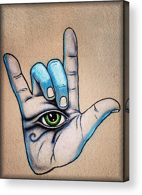 Grafitti Wall Art Acrylic Print featuring the photograph Surveillance by Diane Wood