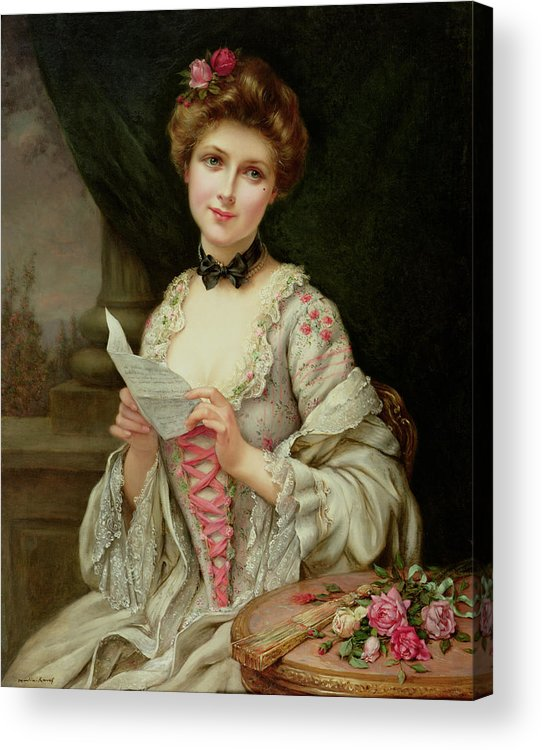 Billet Doux; Female; Seated; Sitting; Roses; Fan; Black Bow; Wistful; Pretty; Costume; Dress; Beauty; Jewellery; Jewelry; In Love; Valentine; Beauty Acrylic Print featuring the painting The Love Letter by Francois Martin-Kayel