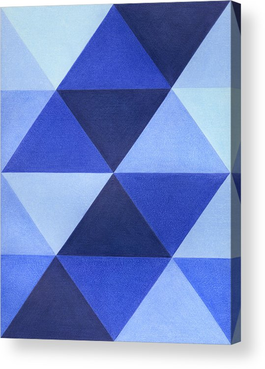 Abstract Blue Blues colored Pencil Decorative Drawing Drawn Geometric Geometry Hand Illustration Pencil Shapes Triangle Triangles Acrylic Print featuring the drawing Triangles B8001 by Adam Schreck