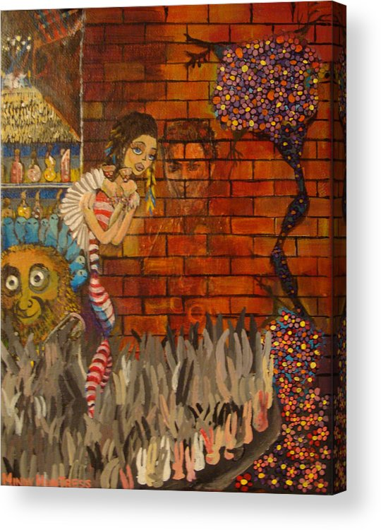 Surreal Acrylic Print featuring the painting Twisted And Empty by Mindy Huntress