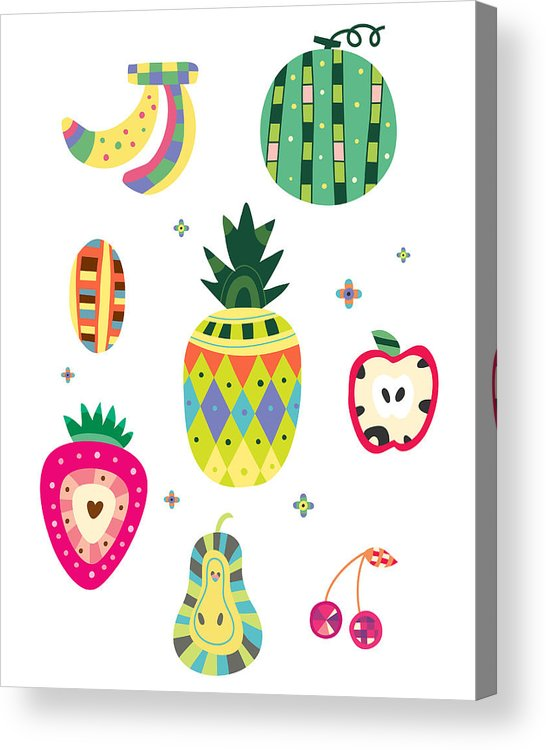Vertical Acrylic Print featuring the digital art Various Kinds Of Fruit by Eastnine Inc.