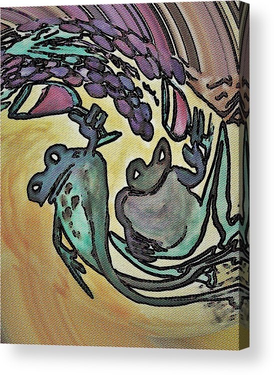 Digital Art Acrylic Print featuring the painting Wine Frogs Blended Not Stirred by James Christiansen