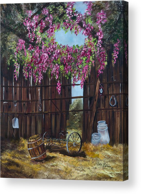 Wisteria Acrylic Print featuring the painting Wisteria by Jan Holman