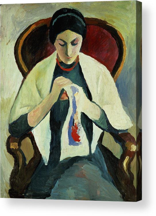 Woman Sewing By August Macke (1887-1914) Armchair; Portrait; Female Acrylic Print featuring the painting Woman Sewing by August Macke