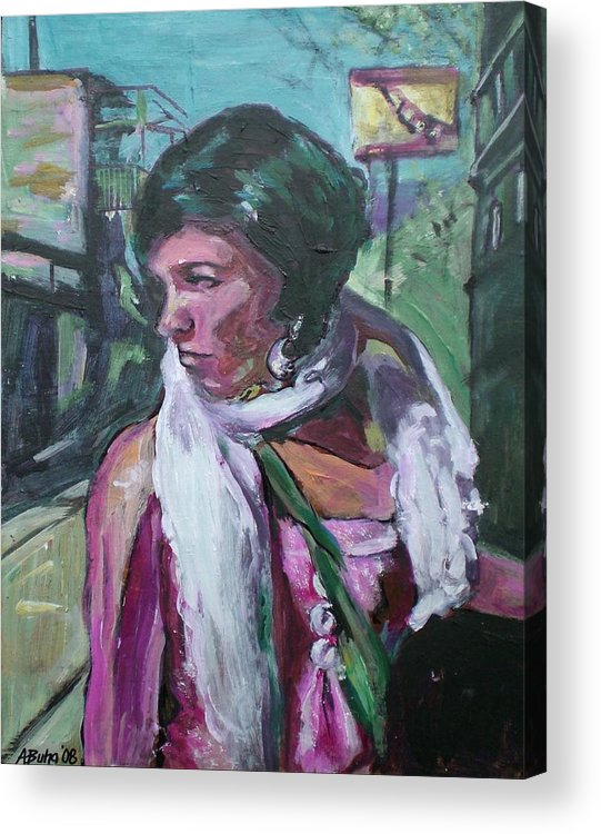 Acrylic Print featuring the painting Girl With White Shawl by Aleksandra Buha