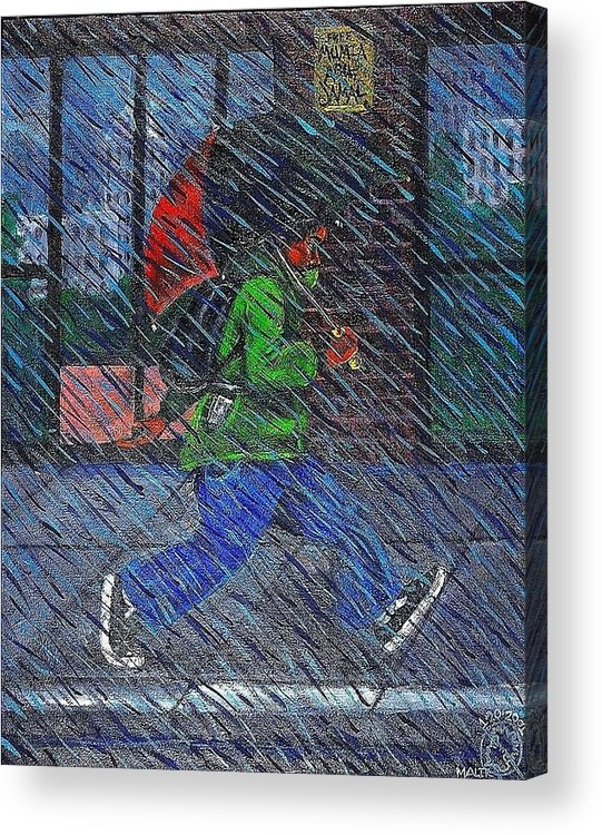 Malik Seneferu Acrylic Print featuring the painting Blue Rain by Malik Seneferu