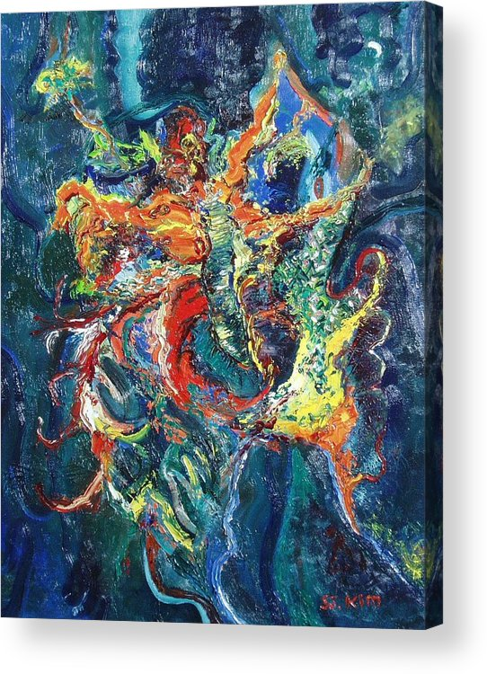 Butterfly Paintings Acrylic Print featuring the painting Dancing Butterflies by Seon-Jeong Kim