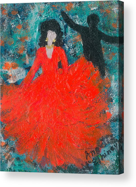 Women Acrylic Print featuring the painting Dancing Joyfully With Or Without Ned by Annette McElhiney