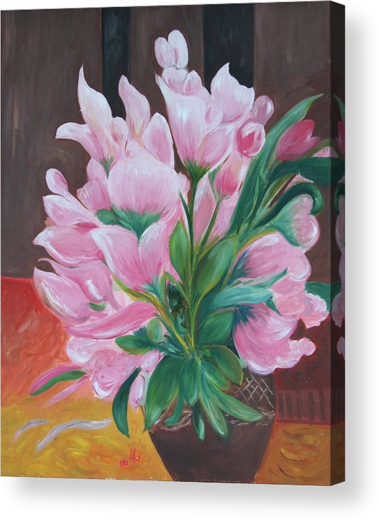 Flowers Acrylic Print featuring the painting Flowers by Taly Bar
