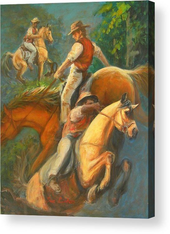 Horses Acrylic Print featuring the painting High Country Riding by Sue Linton