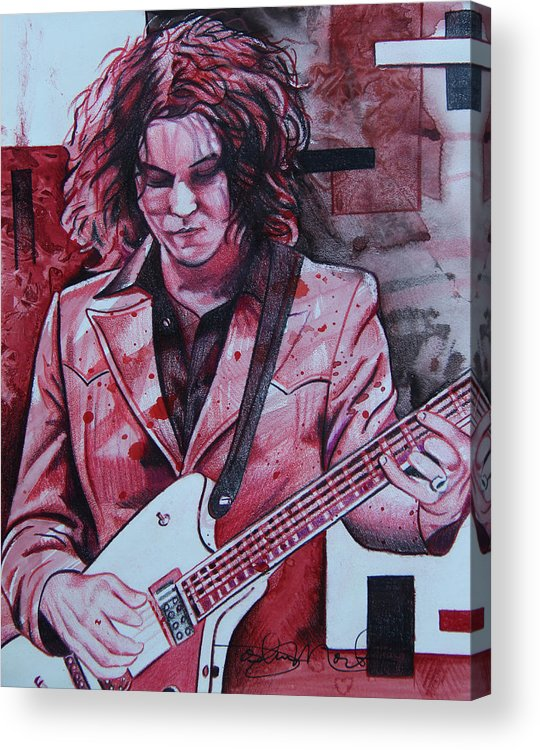 Jack White Acrylic Print featuring the drawing Jack White by Joshua Morton