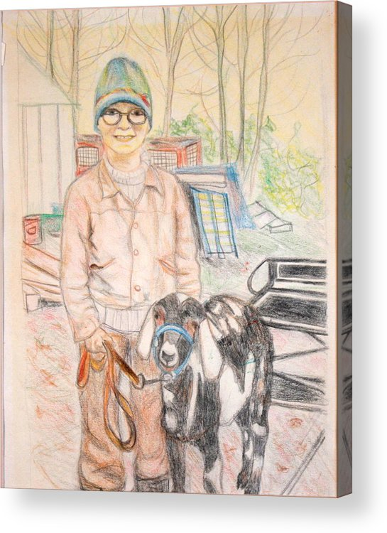 Animals Acrylic Print featuring the drawing Linda And Stinky by Sarah Hamilton
