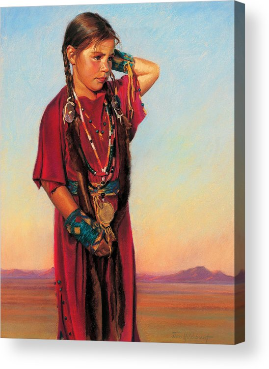 American Indian Acrylic Print featuring the painting Little American Beauty I by Jean Hildebrant