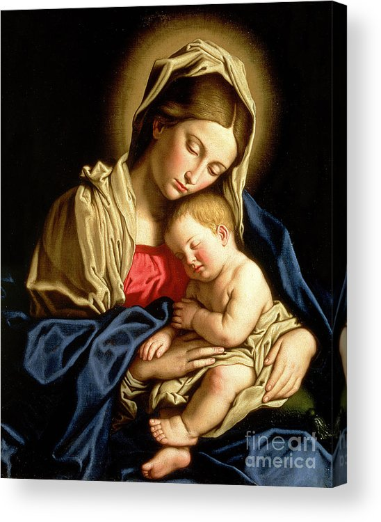 Mary Acrylic Print featuring the painting Madonna And Child by Il Sassoferrato