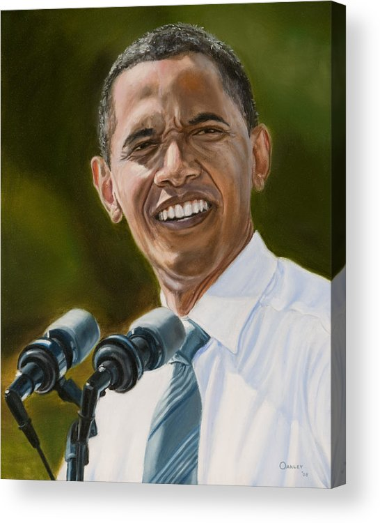 President Barack Obama Acrylic Print featuring the painting President Barack Obama by Christopher Oakley