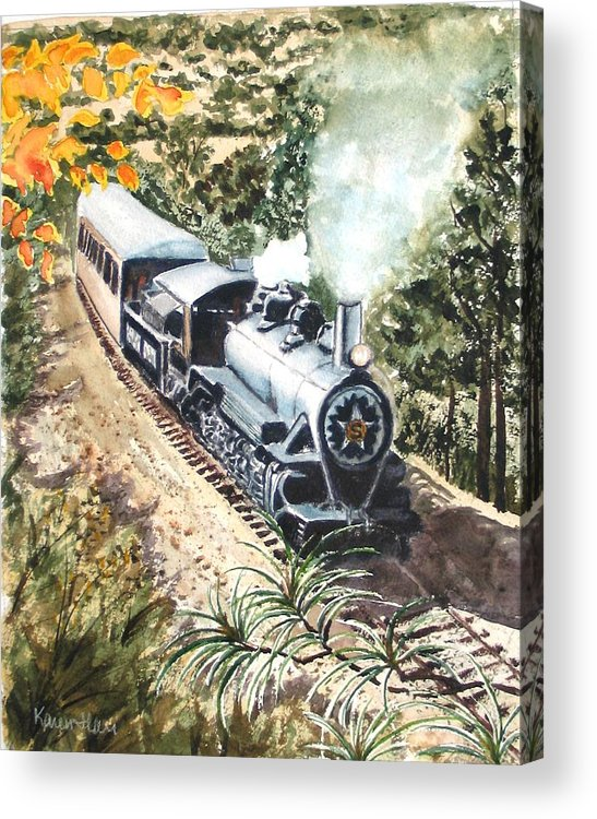 Trains Acrylic Print featuring the painting Round The Bend by Karen Ilari