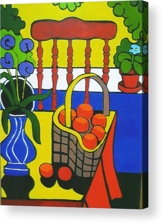 Still Life Acrylic Print featuring the painting Still Life With Red Chair And Oranges by Nicholas Martori