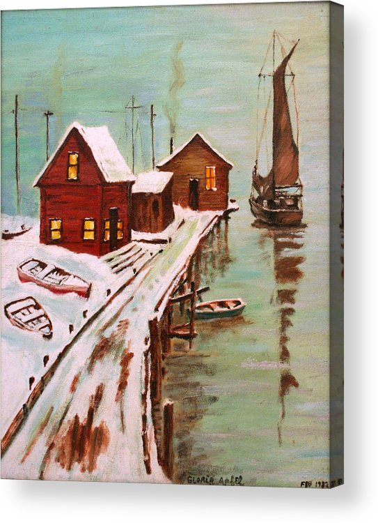 Dock Acrylic Print featuring the painting Winter Sail by Gloria M Apfel