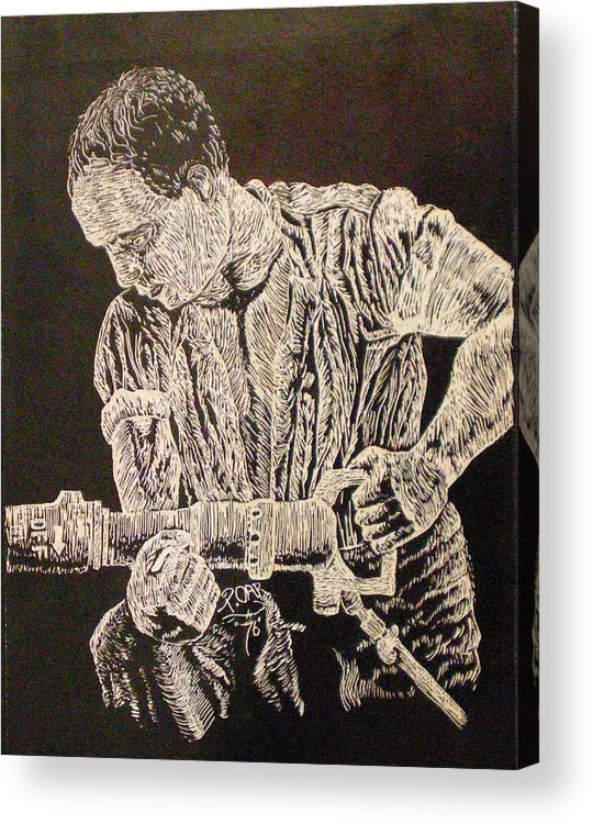 Scratch-board Acrylic Print featuring the drawing Working Man by Tammera Malicki-Wong