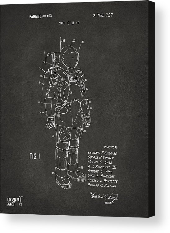 Space Suit Acrylic Print featuring the digital art 1973 Space Suit Patent Inventors Artwork - Gray by Nikki Marie Smith