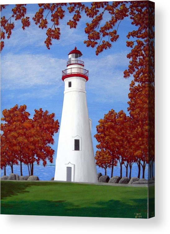 Lighthouse Paintings Acrylic Print featuring the painting Autumn At Marblehead by Frederic Kohli
