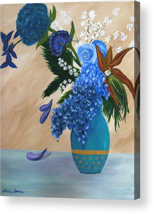 Flowers Acrylic Print featuring the painting Blue Passion by Debbie Levene