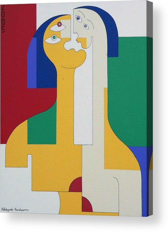Modern Colors Women Humor Acrylic Print featuring the painting 2 In 1 by Hildegarde Handsaeme
