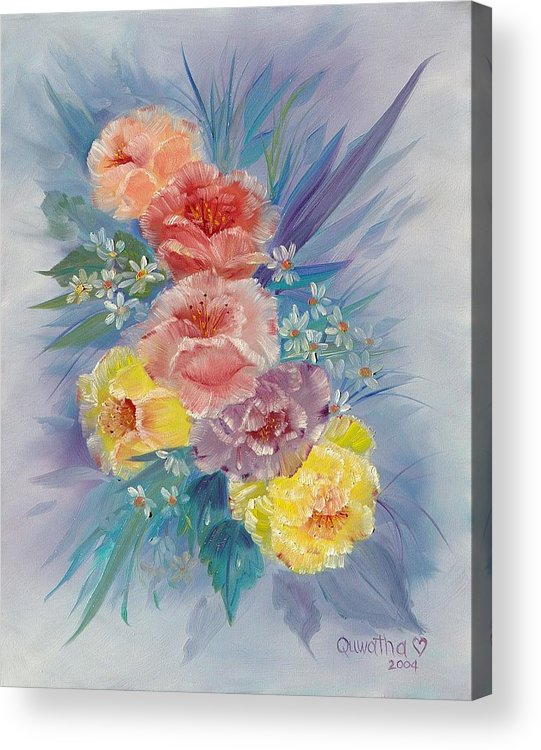 Roses Acrylic Print featuring the painting Roses by Quwatha Valentine