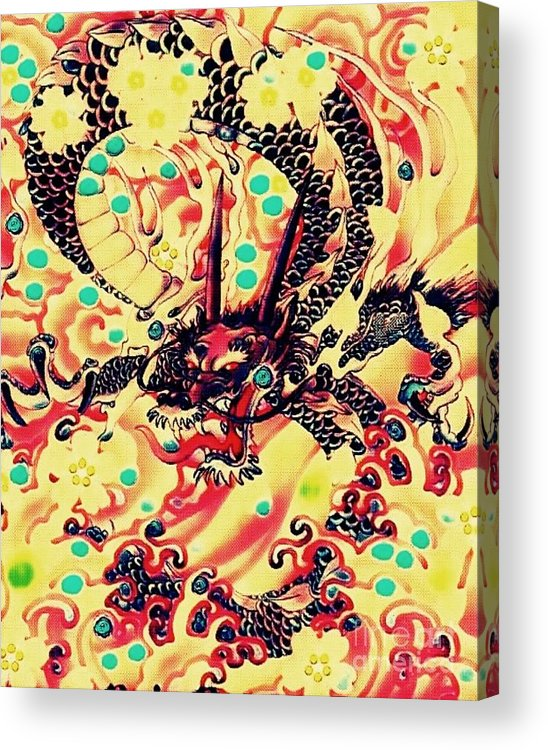 Dragon Acrylic Print featuring the mixed media 3d Color Dragon by Hans Gns