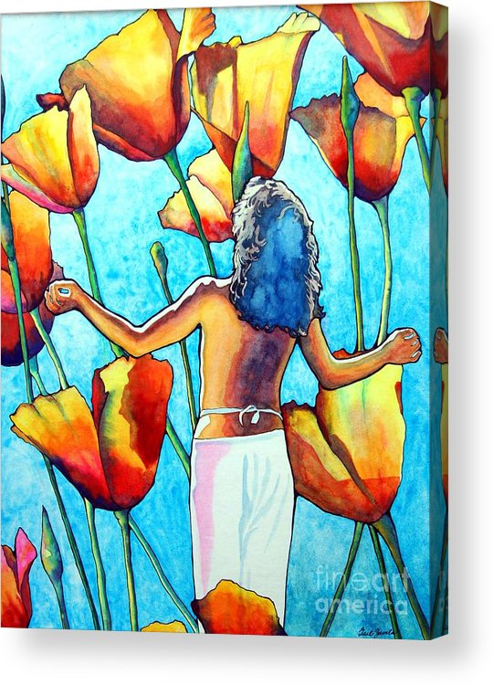 Woman Acrylic Print featuring the painting 60s Meditation by Gail Zavala
