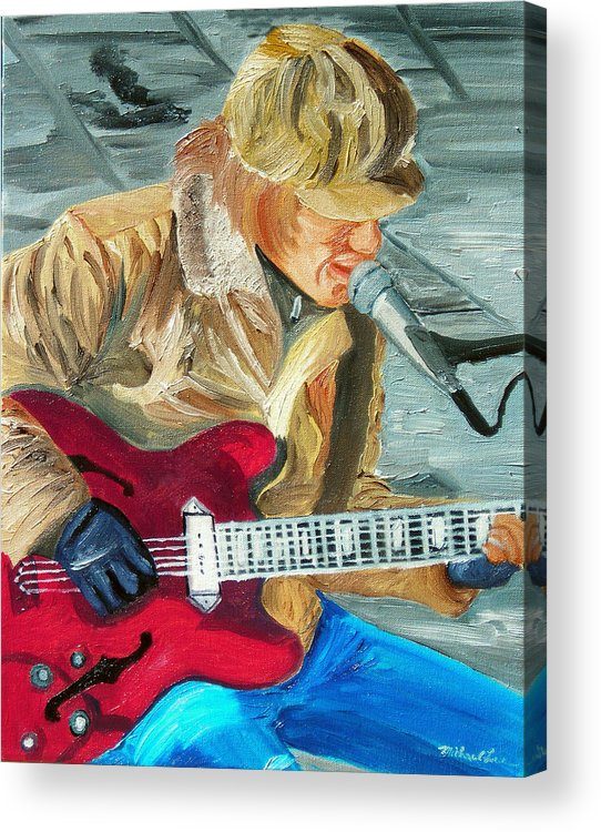 Street Musician Acrylic Print featuring the painting A Cold Day To Play by Michael Lee