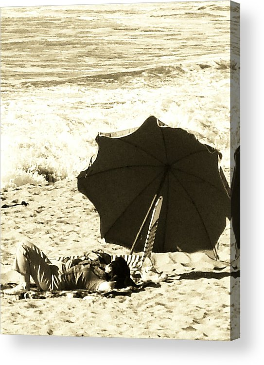 People Acrylic Print featuring the digital art A Day At The Beach by Donna Thomas