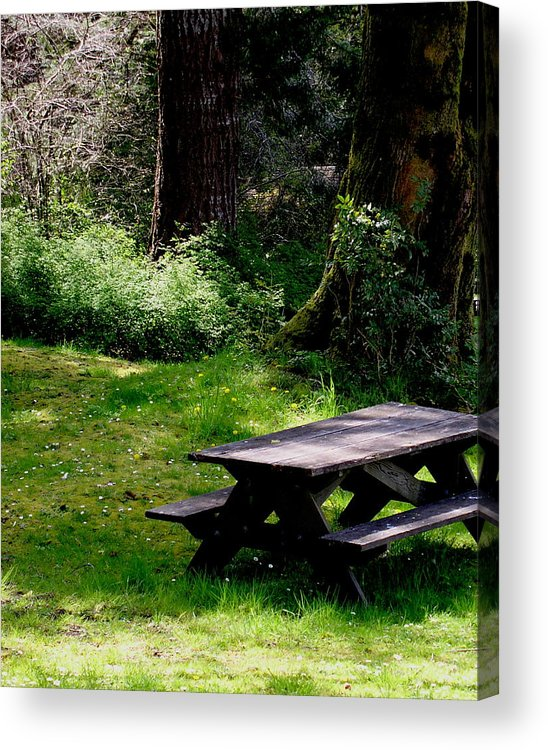Picnic Table Acrylic Print featuring the painting A Peaceful Place by Valerie Josi