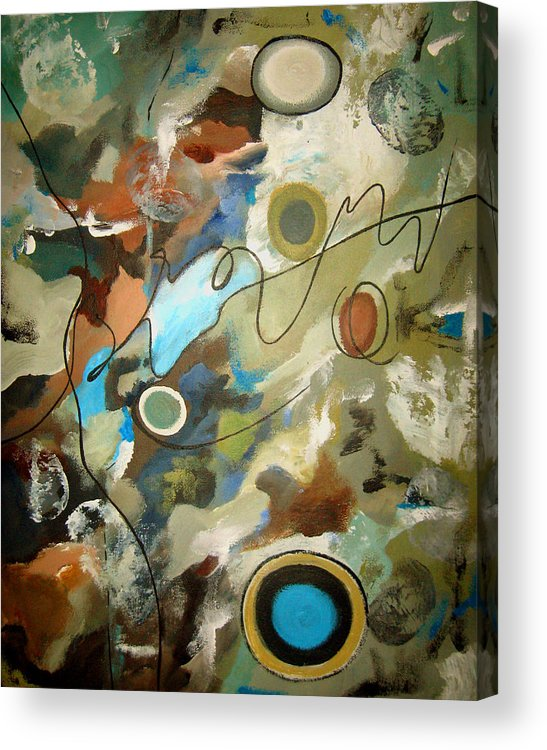 Abstract Acrylic Print featuring the painting A Rolling Stone Gathers No Moss by Ruth Palmer