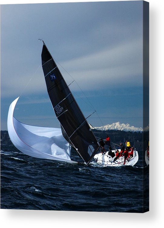 Yacht Acrylic Print featuring the photograph A Troublesome Spinnaker by Owen Ashurst