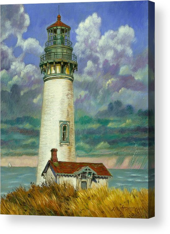 Lighthouse Acrylic Print featuring the painting Abandoned Lighthouse by John Lautermilch