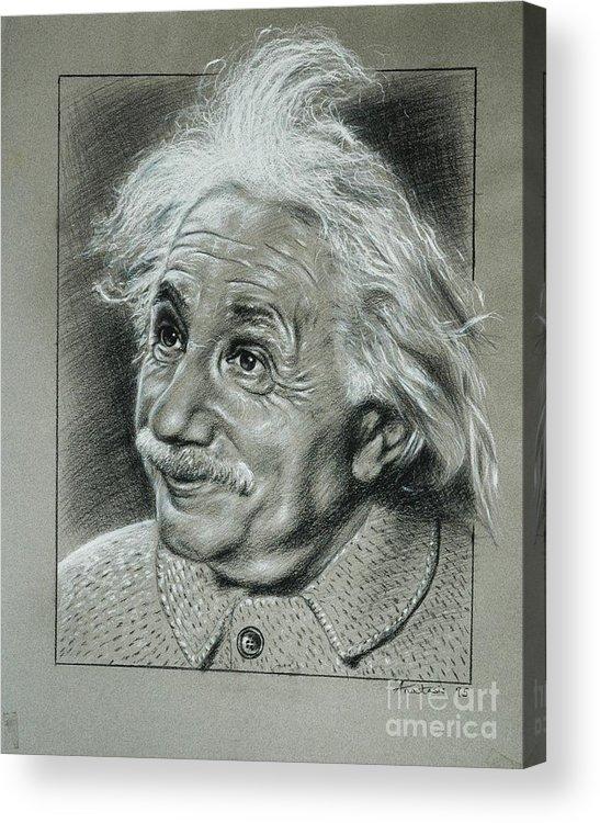 Portrait Of Albert Einstein Acrylic Print featuring the painting Albert Einstein by Anastasis Anastasi