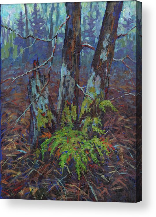 Alders Acrylic Print featuring the painting Alders With Ferns by Peggy Wilson