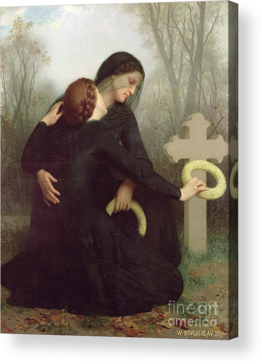 Le Jour Des Morts (all Saints Day) 1859 (oil On Canvas) By William-adolphe Bouguereau (1825-1905) Le Jour Des Morts; Female; Widow; Mourning; Grave; Cemetery; Gravestone; Tombstone; Black Veil; Child; Mother; Daughter; Sadness; Sorrow; Day Of The Dead; 1 November; Grave Acrylic Print featuring the painting All Saints Day by William Adolphe Bouguereau