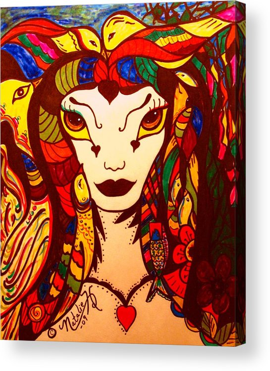 Fantasy Acrylic Print featuring the painting Amazon Queen by Natalie Holland