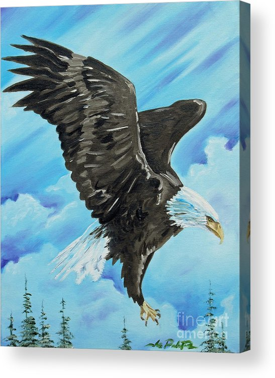 Bald Eagle Acrylic Print featuring the painting American Flight by Joseph Palotas