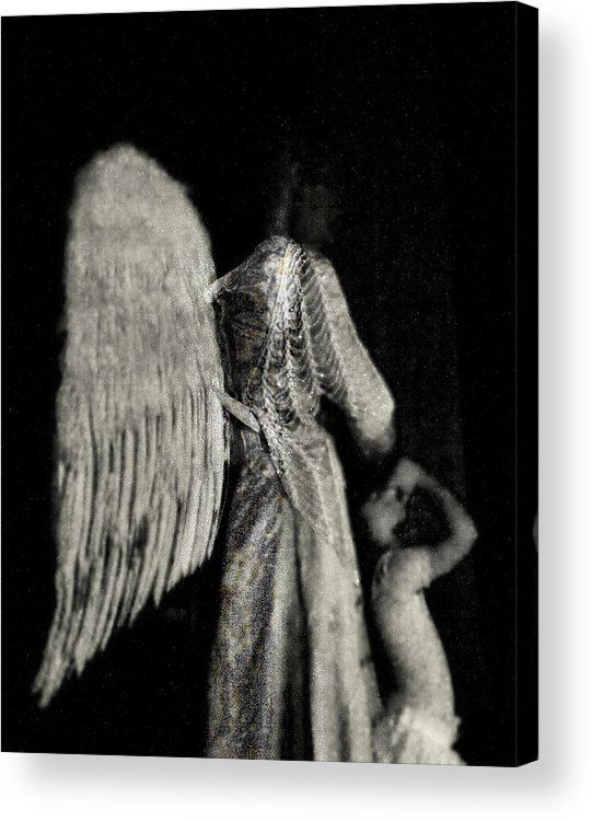 Digital Photography Acrylic Print featuring the photograph Angel Bw by Tony Wood