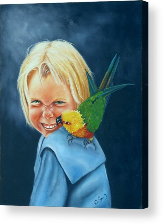 Portrait Acrylic Print featuring the painting Angel On My Shoulder by Joni McPherson