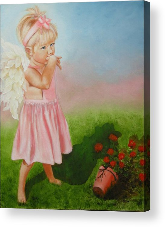 Angel Acrylic Print featuring the painting Angel Thumbs by Joni McPherson