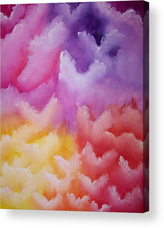 Artwork Angels Acrylic Print featuring the painting Angelic Visitation by Laurie Kidd