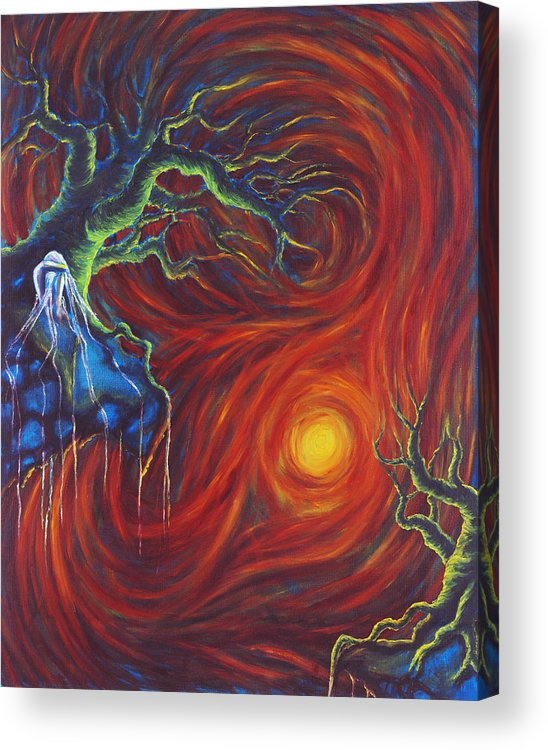 Tree Paintings Acrylic Print featuring the painting Anxiety by Jennifer McDuffie