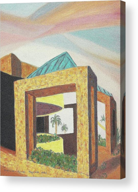 Arizona Acrylic Print featuring the painting Arizona Park Building by Suzanne Marie Leclair