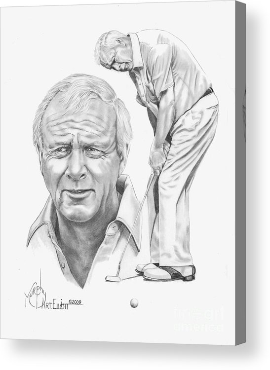 Arnold Palmer Acrylic Print featuring the drawing Arnold Palmer by Murphy Elliott
