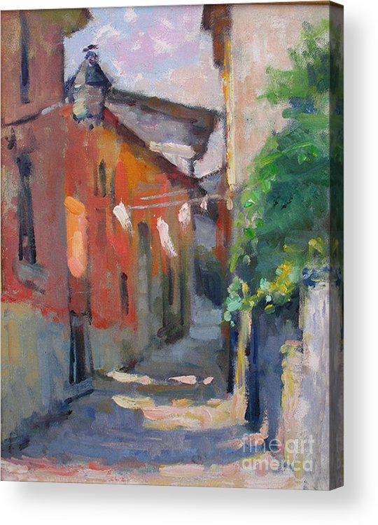 Plein-air Acrylic Print featuring the painting At The End Of The Alley by Jerry Fresia